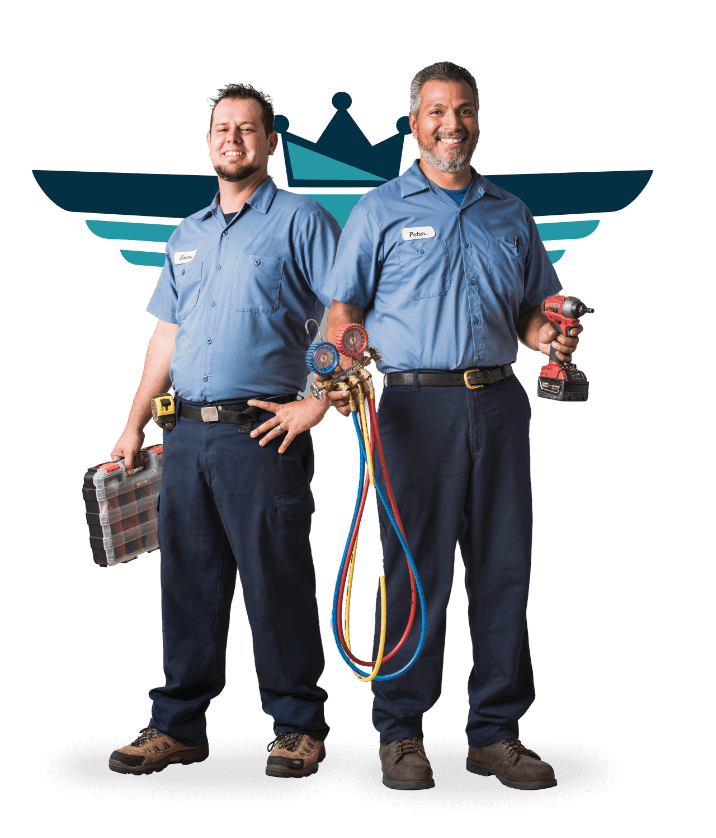 Air Supreme Heating and Air Conditioning Techs standing before our logo